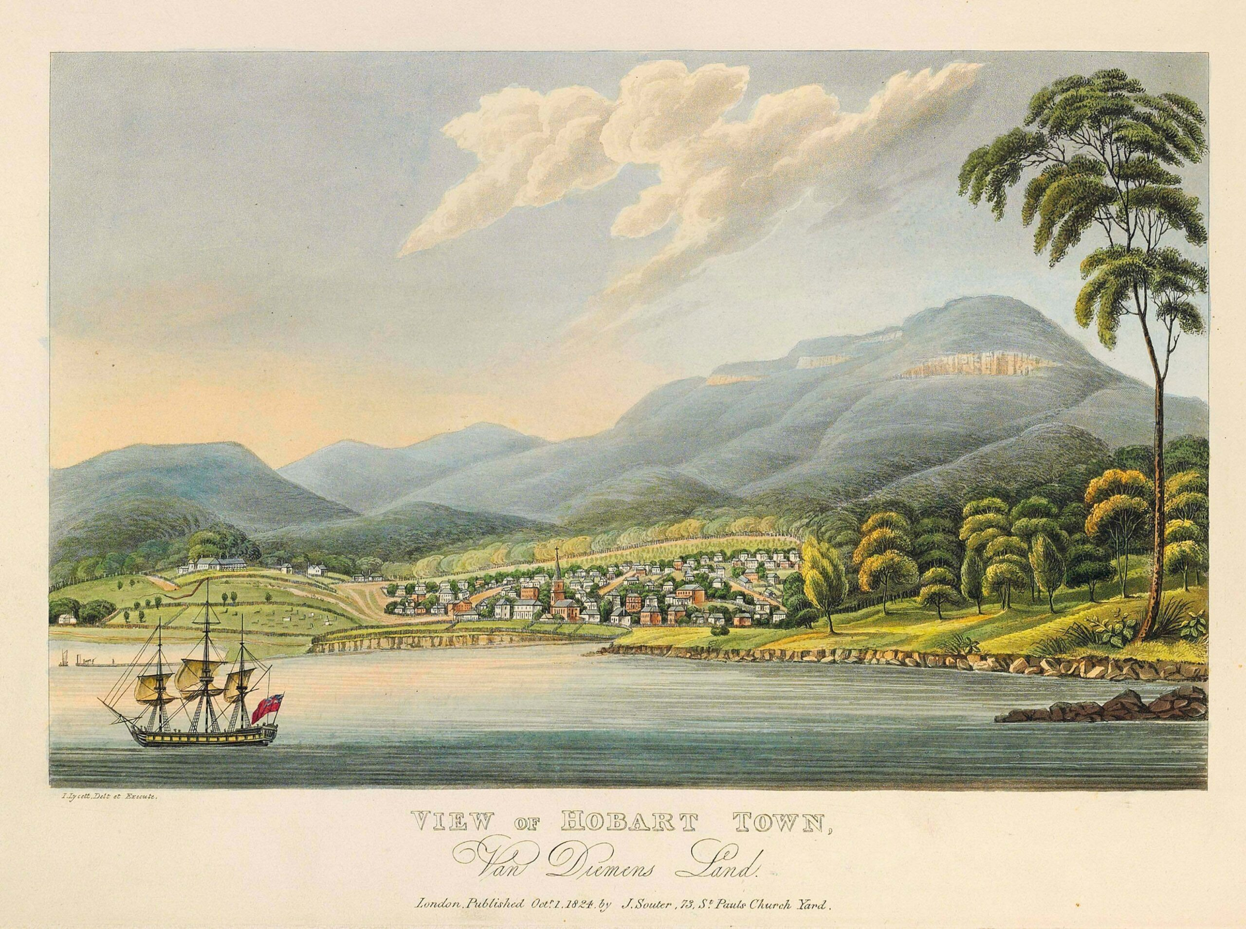 Engraving of Hobart by Joseph Lycett